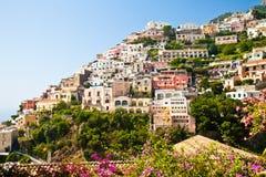 Positano view. Positano is a village and comune on the Amalfi Coast (Costiera Amalfitana), in Campania, Italy Royalty Free Stock Photography