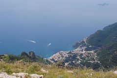 Positano view from the mountains. Trekking and outdoors possibilities aer infinite on the Sorrento coast. Fantastic views, air and Royalty Free Stock Photography