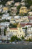 Positano view from the ocean royalty free stock image