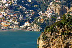 Positano view from Praiano. A view of Positano from Praiano in december Stock Photos