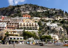 Positano, a village and comune on the Amalfi Coast, in Campania, Italy. Pictured is Positano, a village and comune on the Amalfi Coast also called Costiera Royalty Free Stock Photo