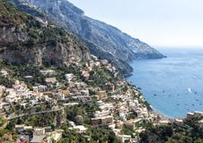 Positano, a village and comune on the Amalfi Coast, in Campania, Italy. Pictured is Positano, a village and comune on the Amalfi Coast also called Costiera Stock Images