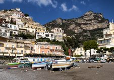Positano, a village and comune on the Amalfi Coast, in Campania, Italy. Pictured is Positano, a village and comune on the Amalfi Coast also called Costiera Royalty Free Stock Photography
