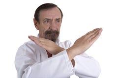 Positie van de karate demontrated door een hogere mens stock foto's