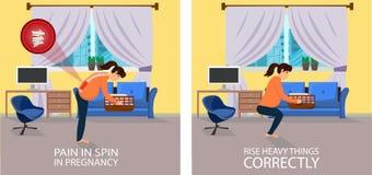 Positie wanneer het Opheffen van dingen voor Zwanger vector illustratie