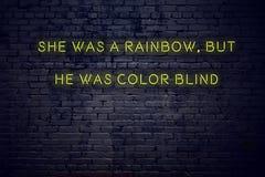 Positief inspirerend citaat op neonteken tegen bakstenen muur was zij een regenboog maar hij was blinde kleur vector illustratie
