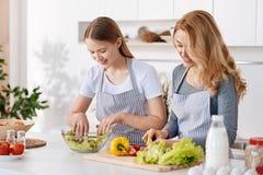 Positief meisje en haar moeder die samen van het koken genieten stock afbeelding