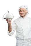 Positieve chef-kok met geïsoleerdet de dekking van het glazen kapdeksel Stock Foto