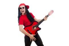 Positieve die jongen met gitaar op wit wordt geïsoleerd Royalty-vrije Stock Foto's