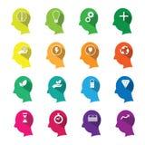 Positieve het denken pictogrammen geplaatst mens vlakke lijn Stock Foto's