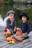 Positieve jongens die met pompoenen en appelen zitten Stock Foto's