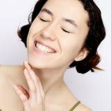 Positieve menselijke emoties Headshot van gelukkige emotionele tienergir royalty-vrije stock foto