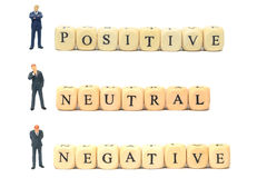 Positieve negatief en neutraal stock afbeelding