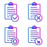 Positieve, negatieve, online orde, onderhoudslijsten stock illustratie