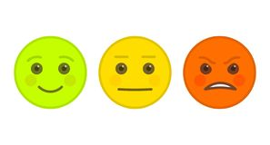 Positieve, neutrale en boze emoticons Stock Afbeelding