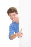 Positieve persoon met omhoog duimen Stock Foto