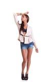 Positieve vrouw in borrels Stock Fotografie