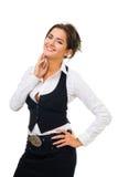 Positieve vrouw met grote glimlach stock fotografie