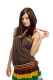 Positieve vrouw met rode parels stock foto's