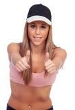 Positieve vrouwelijke atleet klaar voor sporten Royalty-vrije Stock Foto's