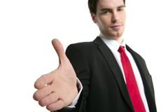 Positif ouvert de main de prise de contact d'homme d'affaires Photo libre de droits