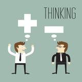 Positif pensant et pensant négatif Images libres de droits
