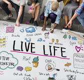 Positif pensant le concept simple de graphique de la vie Image libre de droits