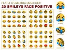 Positif réglé isométrique plat de visage de smiley d'Emoji illustration libre de droits