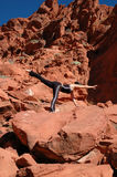 Position. A girl doing yoga in Red Rock Canyon, Las Vegas Nevada Royalty Free Stock Photography