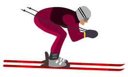 Position aérodynamique de skieur Photographie stock libre de droits