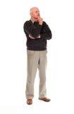 Position aînée et penser d'homme plus âgé Image stock