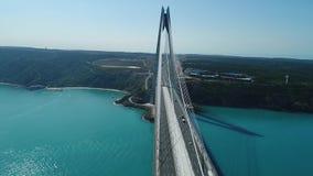 Position asiatique de mer de pont de Bosphorus de côté d'Istanbul clips vidéos