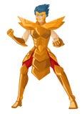 Position blindée de chevalier de héros d'anime puissant Photos stock