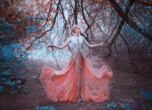 Position blonde d'elfe de reine délicieuse dans la forêt près des branches des arbres qui touchent la terre, portant une lumière images libres de droits
