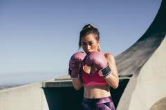 Position convenable de combat de boxeur de femme images stock