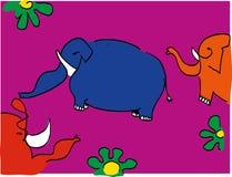 Position d'éléphants illustration de vecteur