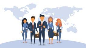 Position d'équipe d'affaires dans le costume groupe illustration stock