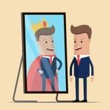 Position d'homme d'affaires devant le miroir voir sa réflexion réussie Illustration de vecteur illustration stock