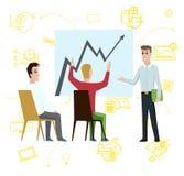 Position d'homme d'affaires indiquant le diagramme de diagramme sur le tableau blanc Plan de stratégie de Cartoon Character Shows illustration stock