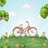 Position de bicyclette dans le beau paysage image libre de droits