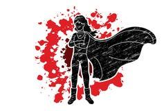 Position de femme de superh?ros avec le graphique de bande dessin?e de costume illustration stock
