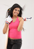 position de fille de cricket de 'bat' Photo stock