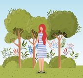 Position de jeune femme dans le camp illustration stock