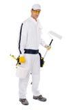 Position de rouleau de peinture de peintre sur le fond blanc Photo libre de droits