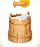 Position en bois lait Laitages naturels vecteur du graphisme 3d illustration libre de droits