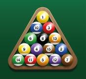 Position för kugge för pölBilliardbollar startande Arkivbild
