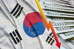 Position för US dollar för för Sydkorea flagga och diagram fallande med en fan av dollarräkningar royaltyfri illustrationer