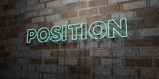 POSITION - Glowing Neon Sign on stonework wall - 3D rendered royalty free stock illustration. Can be used for online banner ads and direct mailers Royalty Free Stock Images