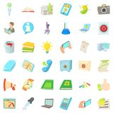 Position icons set, cartoon style. Position icons set. Cartoon set of 36 position vector icons for web isolated on white background Stock Photos