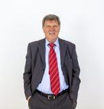 Position mûre de sourire d'homme d'affaires Images libres de droits